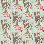 Riley Blake Woodland Spring - 4386 - Deer Owls Foxes on Aqua Blue - C4990 Aqua - Cotton Fabric
